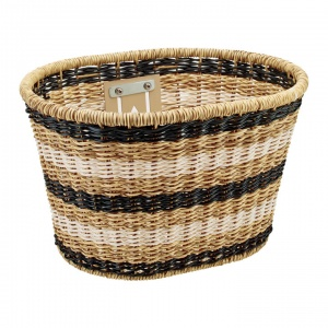 Electra Plastic Woven Basket Light Brown Black White.jpg
